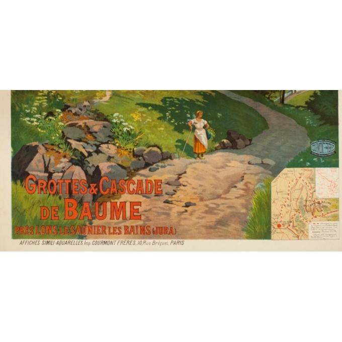 Affiche ancienne de voyage - Tanconvillle - 1898- PLM -Grottes et cascades de Baume - 106 par 76 cm - 2