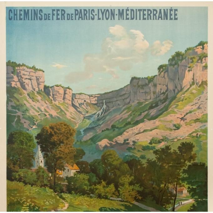 Affiche ancienne de voyage - Tanconvillle - 1898- PLM -Grottes et cascades de Baume - 106 par 76 cm - 3