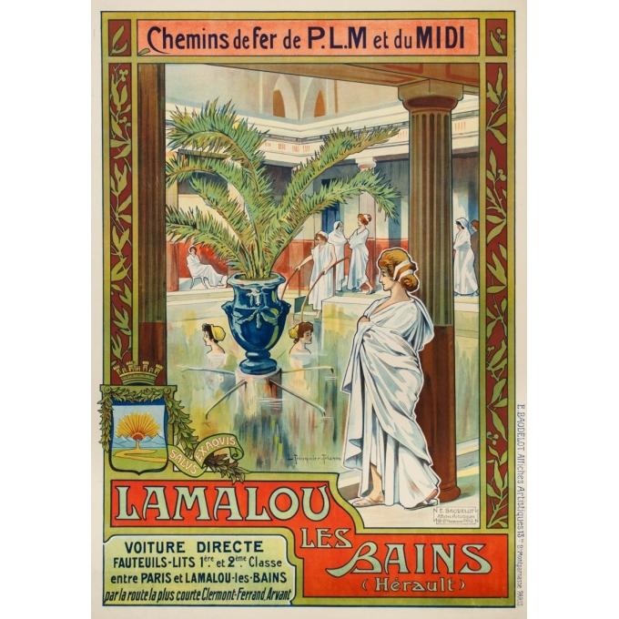 Affiche ancienne de voyage - Trinquier Trianon - 1905 - Lamalou les bains - 105 par 73.5 cm
