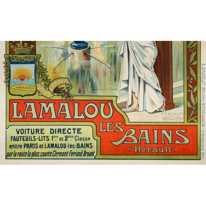 Affiche ancienne de voyage - Trinquier Trianon - 1905 - Lamalou les bains - 105 par 73.5 cm - 2