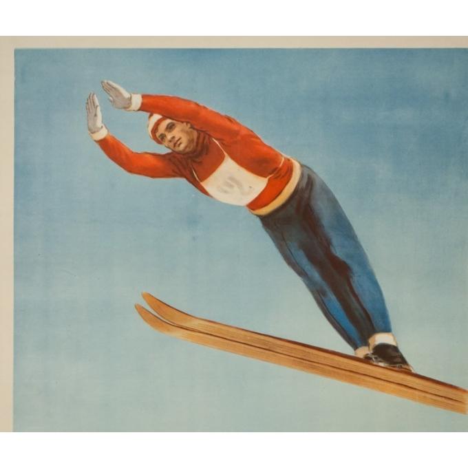 Affiche ancienne de publicité pour le sport - ski en Russie - Berecknn - 82.5 par 57.5 cm inches - 2