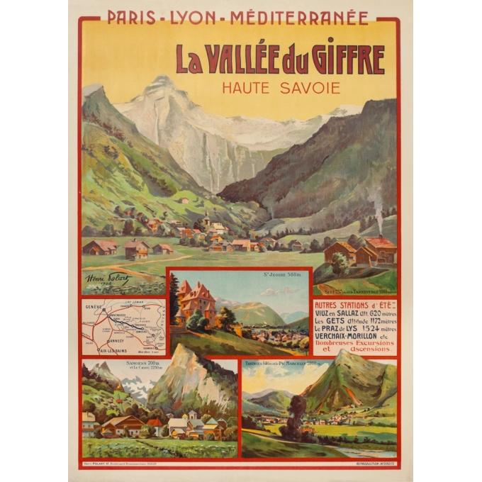 Affiche ancienne de voyage - Henri Polart - 1908 - PLM - La vallée du Giffre - 107 par 77 cm