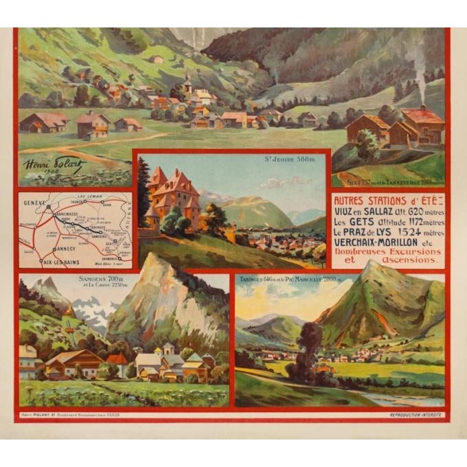 Affiche ancienne de voyage - Henri Polart - 1908 - PLM - La vallée du Giffre - 107 par 77 cm - 3