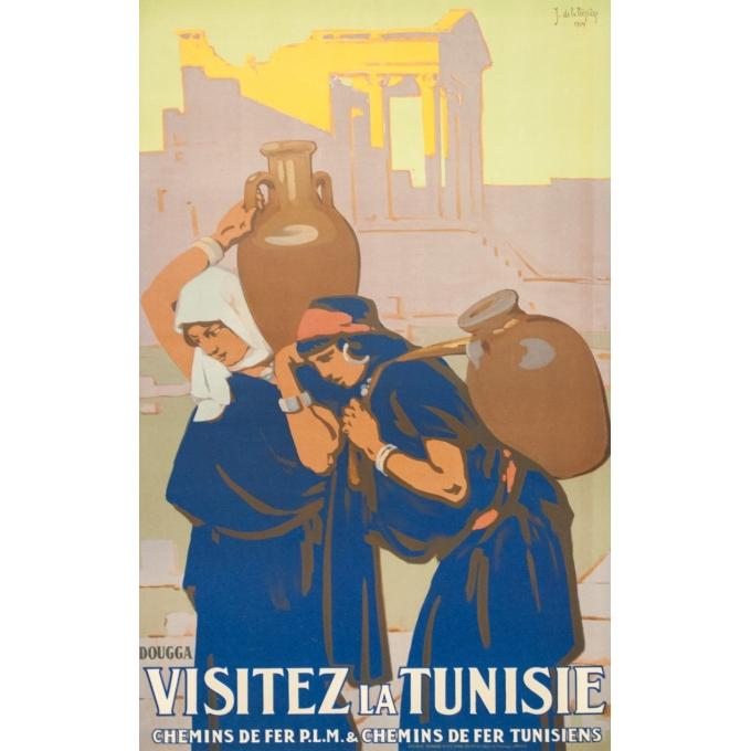 Affiche ancienne de voyage - Joseph de la Nézière - 1929- Douggas- Visitez la Tunisie - 100 par 63 cm