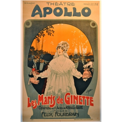 French vintage poster Ginette's husbands operette. Elbé Paris.