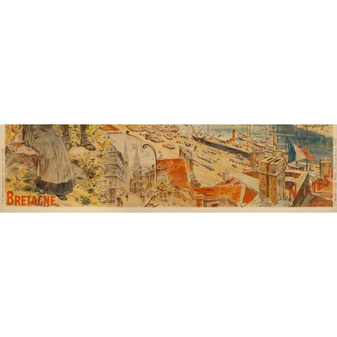 Affiche ancienne de voyage - toilpot - 1904- Bretagne-Nantes - 107 par 74 cm - 2