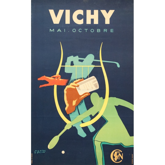 Vintage travel poster - Paul Colin - 1950 - Vichy France - 39.4 by 24.6 inches