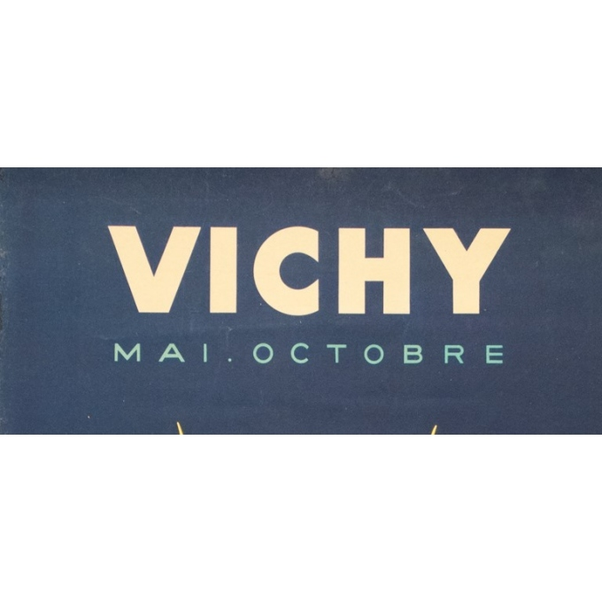 Vintage travel poster - Paul Colin - 1950 - Vichy France - 39.4 by 24.6 inches - 2