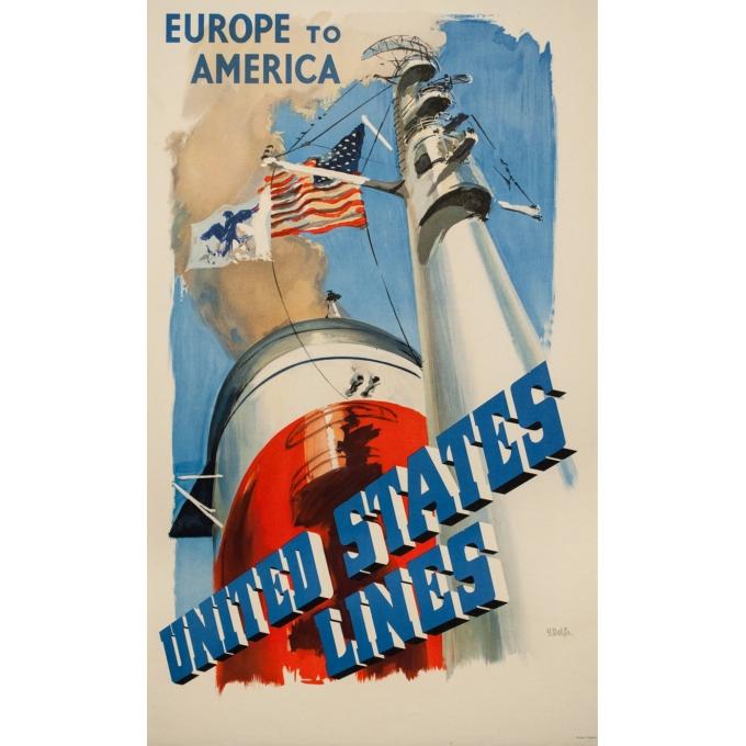 Affiche ancienne de voyage - Y . Delfo - 1950 - United states lines - Europe to America - 99 par 60 cm