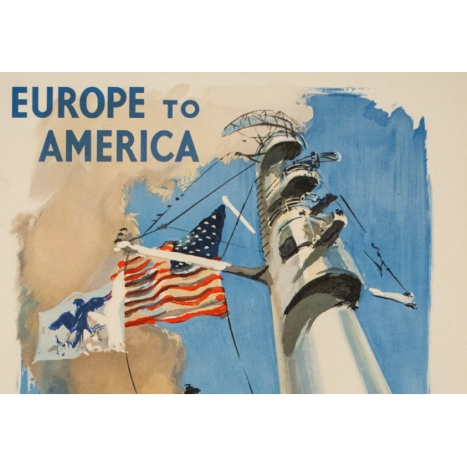 Affiche ancienne de voyage - Y . Delfo - 1950 - United states lines - Europe to America - 99 par 60 cm - 2