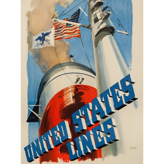 Vintage travel poster - Y.Delfo - 1950 - United states lines -europe to america - 39 by 23.6 inches - 3