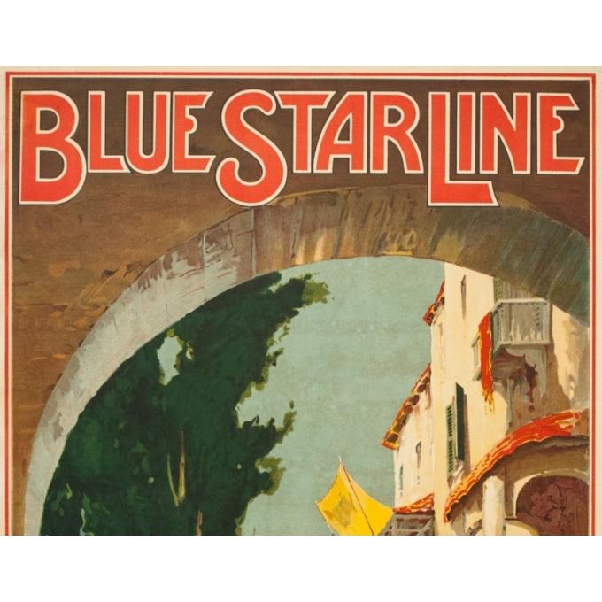 Affiche ancienne de voyage - Maurice randall - 1930- Blue Starline-mediteranean - 100 par 61 cm - 2