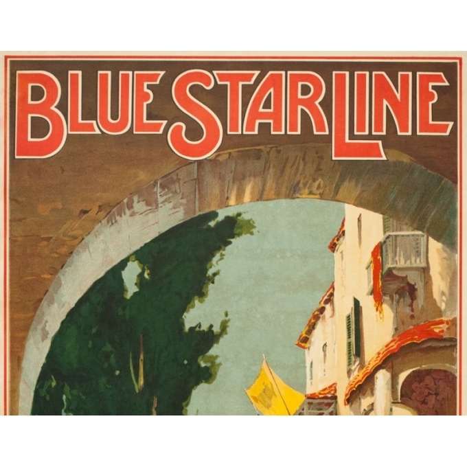 Vintage travel poster - Maurice Randall - 1930 - Blue Starline-mediteranean- - 39.4 by 24 inches - 2