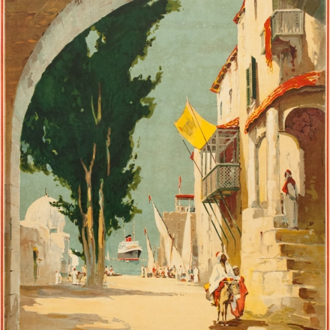 Affiche ancienne de voyage - Maurice randall - 1930- Blue Starline-mediteranean - 100 par 61 cm - 3