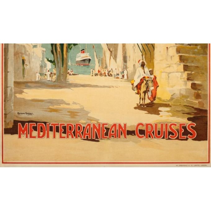 Affiche ancienne de voyage - Maurice randall - 1930- Blue Starline-mediteranean - 100 par 61 cm - 4