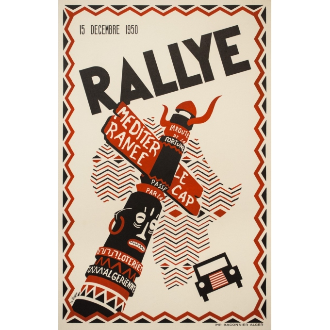 Vintage travel poster - la Hogue - 1950 - Rallye - Algers - Le cap - 39.4 by 25.8 inches