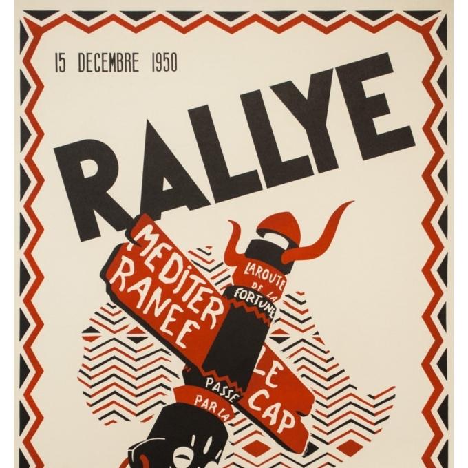 Affiche ancienne de voyage - la Hogue - 1950- Rallye - Algers - Le cap - 100 par 65.5 cm - 2