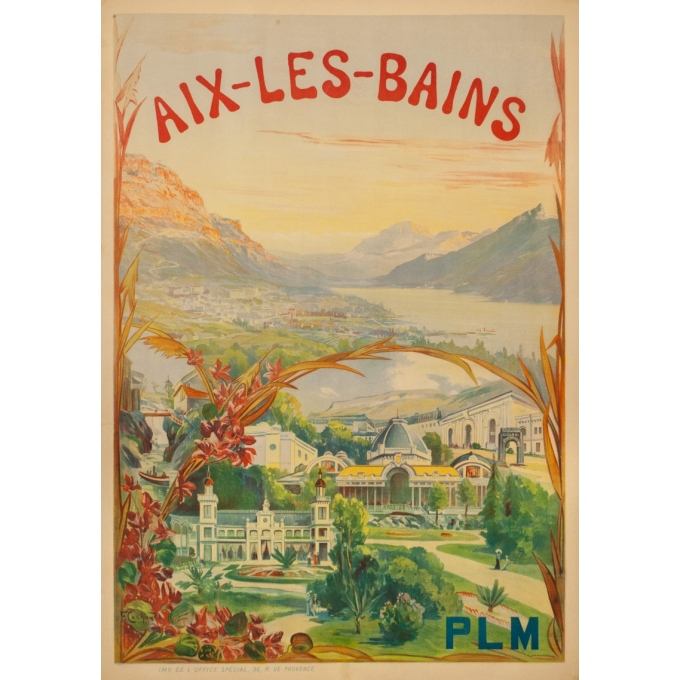 Vintage travel poster - Cachoud - 1900 - Aix les Bains - 45.3 by 32.9 inches