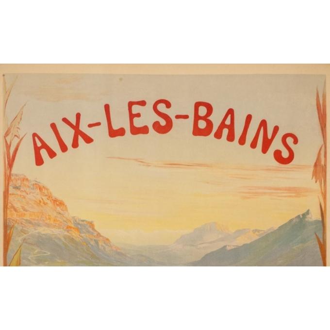 Affiche ancienne de voyage - Cachoud - 1900 - Aix les Bains - 115 par 83.5 cm - 2