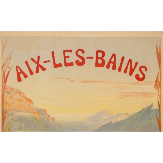 Vintage travel poster - Cachoud - 1900 - Aix les Bains - 45.3 by 32.9 inches - 2