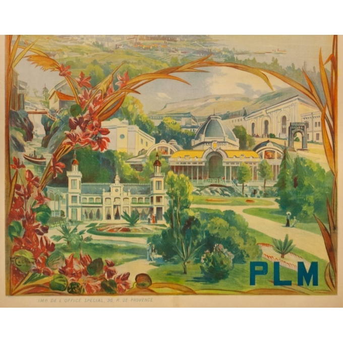 Vintage travel poster - Cachoud - 1900 - Aix les Bains - 45.3 by 32.9 inches - 3