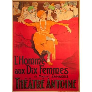 Affiche originale L'Homme aux dix femmes Clérice. Elbé Paris.
