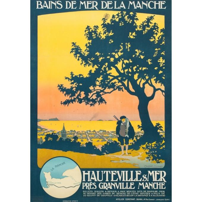 Affiche ancienne de voyage - Constant Duval - 1920 - Bains de mer de la Manche - 107.5 par 77.5 cm