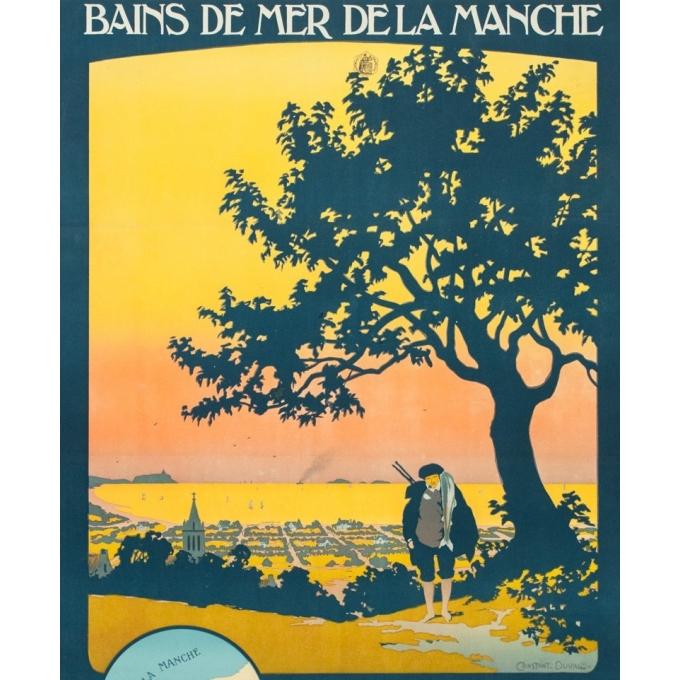 Affiche ancienne de voyage - Constant Duval - 1920 - Bains de mer de la Manche - 107.5 par 77.5 cm - 2