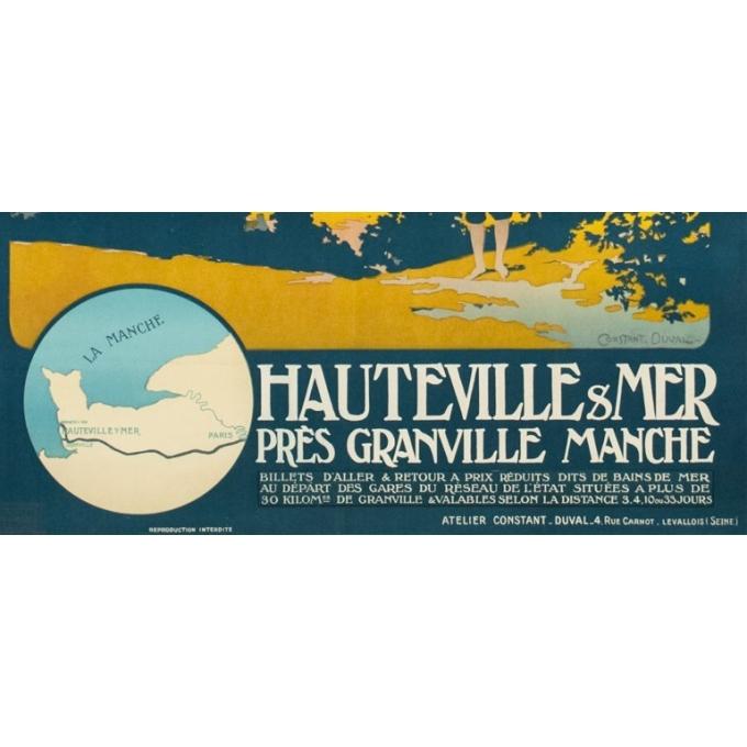 Affiche ancienne de voyage - Constant Duval - 1920 - Bains de mer de la Manche - 107.5 par 77.5 cm - 3