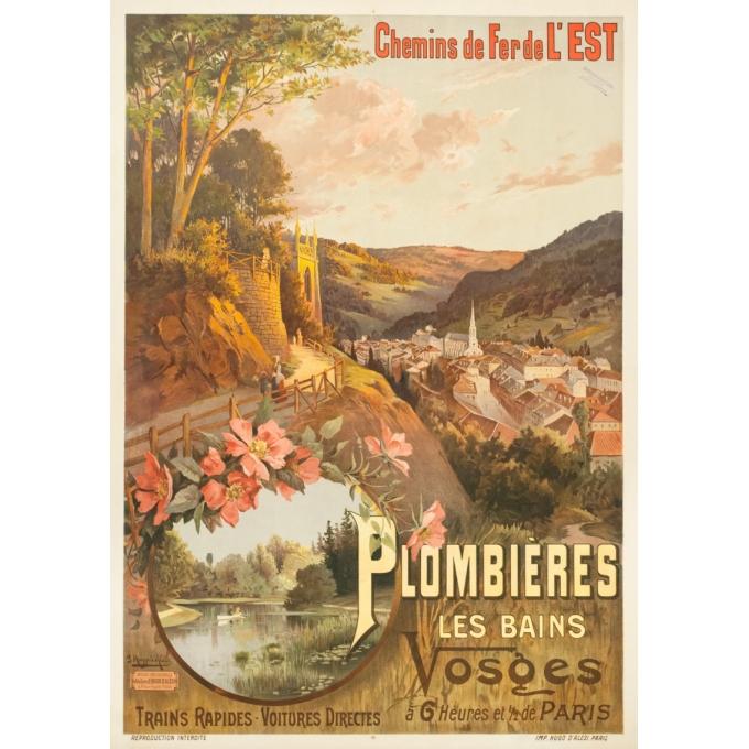 Affiche ancienne de voyage - Hugo d'Alési - 1900- Plombière les bains - 114.5 par 83 cm
