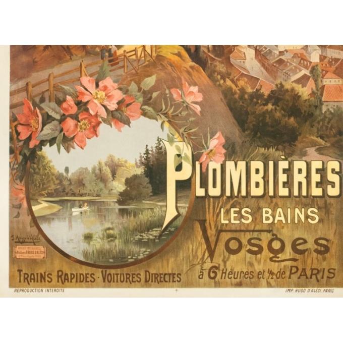 Affiche ancienne de voyage - Hugo d'Alési - 1900- Plombière les bains - 114.5 par 83 cm - 4
