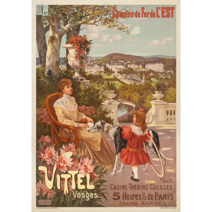 Affiche ancienne de voyage - Hugo d'Alési - 1900 - Vitel - Les Vosges - 114.5 par 81.5 cm