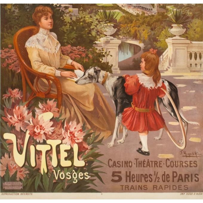 Affiche ancienne de voyage - Hugo d'Alési - 1900 - Vitel - Les Vosges - 114.5 par 81.5 cm - 3