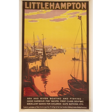 Affiche ancienne originale Littlehampton