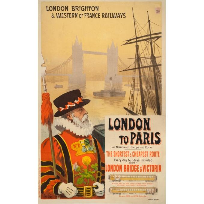Affiche ancienne de voyage - Renée Pion - 1895 - London to Paris - 109.5 par 72 cm