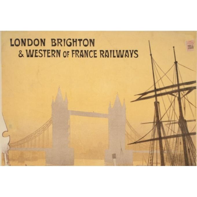 Affiche ancienne de voyage - Renée Pion - 1895 - London to Paris - 109.5 par 72 cm - 2