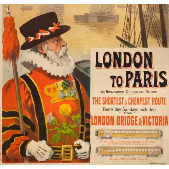 Affiche ancienne de voyage - Renée Pion - 1895 - London to Paris - 109.5 par 72 cm - 3