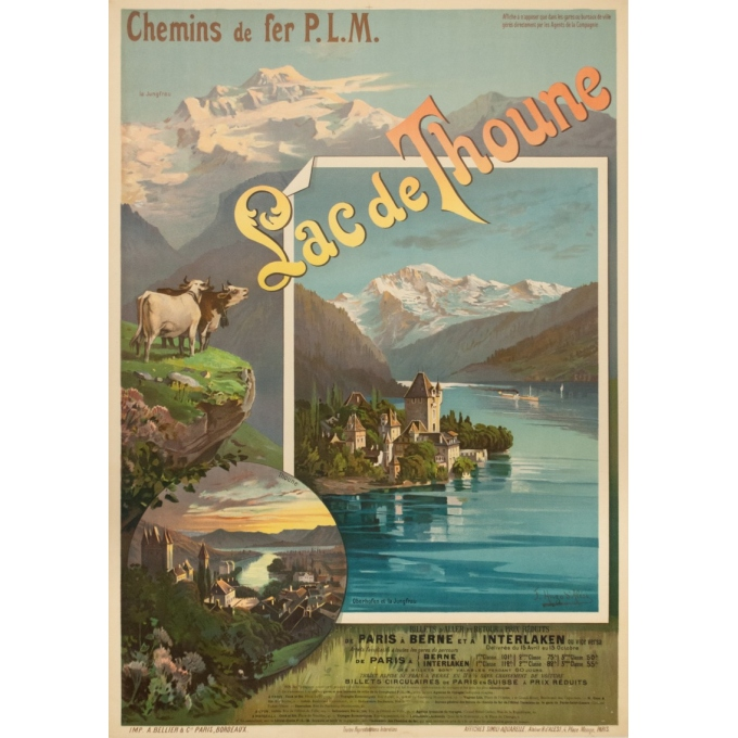Vintage travel poster - Hugo d'Alési - 1900 - Lac de Thoune - 44.3 by 32.5 inches