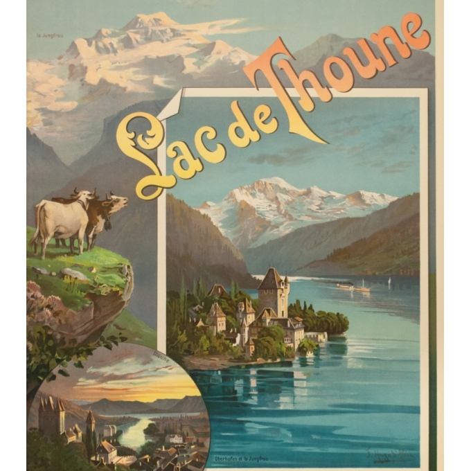 Vintage travel poster - Hugo d'Alési - 1900 - Lac de Thoune - 44.3 by 32.5 inches - 3