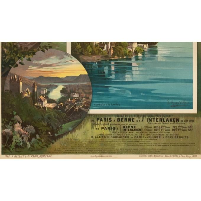 Affiche ancienne de voyage - Hugo d'Alési - 1900 - Lac de Thoune - 112.5 par 82.5 cm - 4