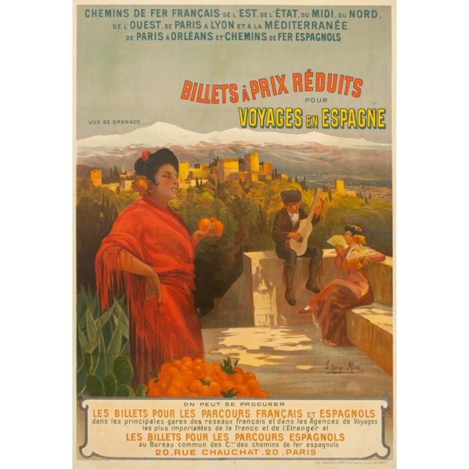Affiche ancienne de voyage - Hugo d'Alési - 1900 - Billets à prix réduits pour Voyages en Espagne - 113.5 par 81 cm