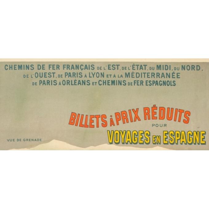 Vintage travel poster - Hugo d'Alési - 1900 - Billets à prix réduits pour Voyages en Espagne - 44.7 by 31.9 inches - 2