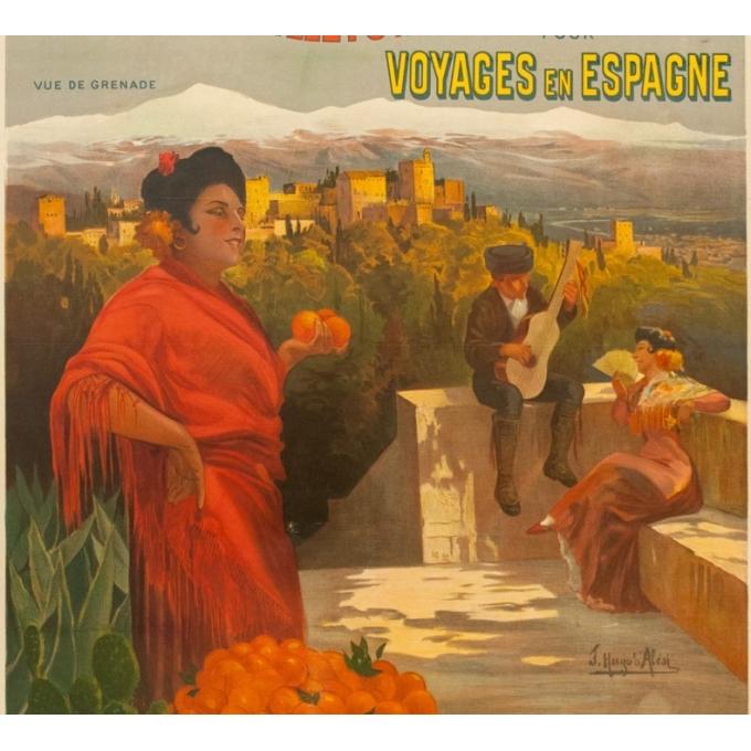 Affiche ancienne de voyage - Hugo d'Alési - 1900 - Billets à prix réduits pour Voyages en Espagne - 113.5 par 81 cm - 3