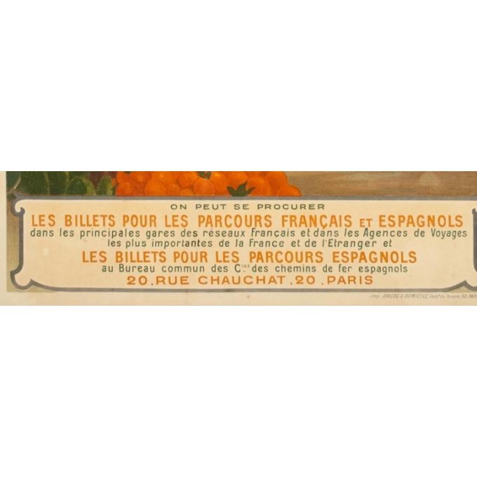 Vintage travel poster - Hugo d'Alési - 1900 - Billets à prix réduits pour Voyages en Espagne - 44.7 by 31.9 inches - 4