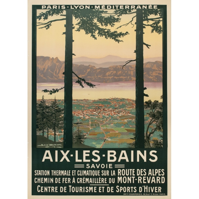 Vintage travel poster - Dorival - 1913 - Aix les Bains - 42.3 by 30.7 inches
