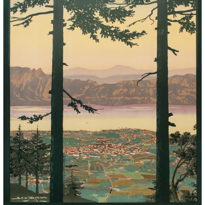 Vintage travel poster - Dorival - 1913 - Aix les Bains - 42.3 by 30.7 inches - 3