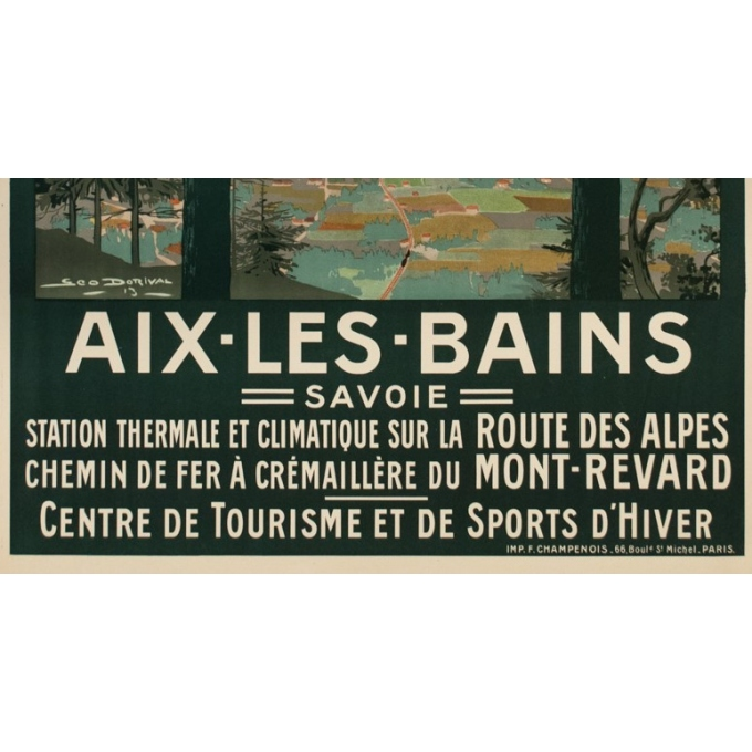 Vintage travel poster - Dorival - 1913 - Aix les Bains - 42.3 by 30.7 inches - 4