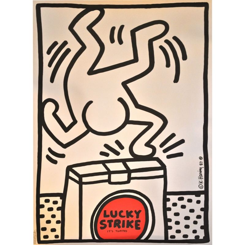 Affiche Lucky Strike (blanche) Harring 1987. Elbé Paris.