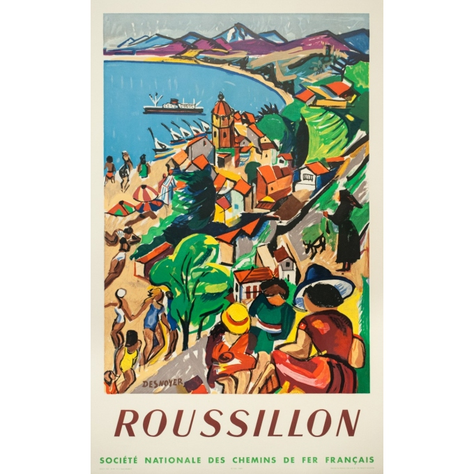 Vintage travel poster - Desnoyer - 1932 - Roussillon - 41.7 by 26.9 inches