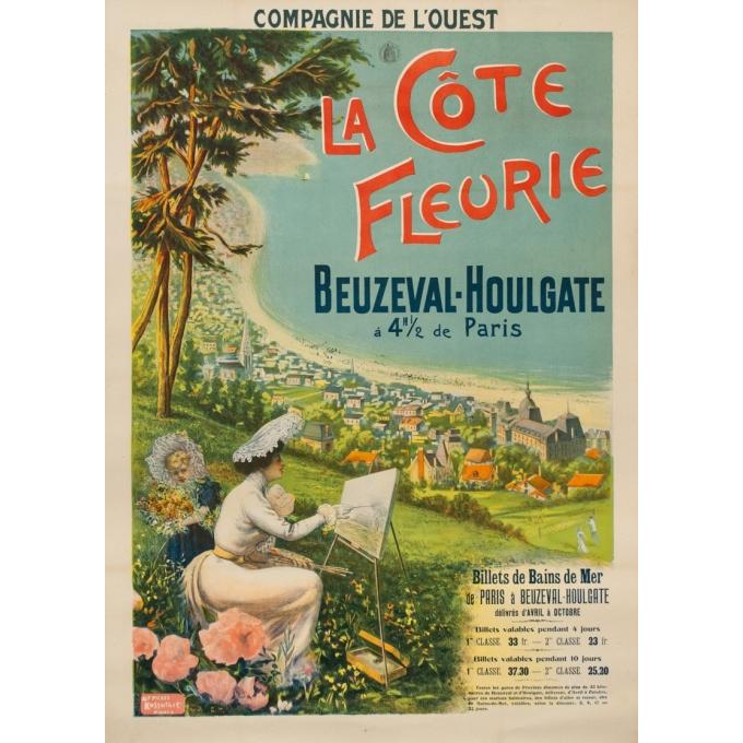 Affiche ancienne de 1895 - Compagnie de l'Ouest - La Côte fleurie Beuzeval-Houlgate - 76 par 106cm